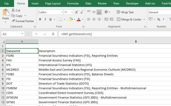 Getting IMF Data into Excel with NeXL Connector and F# | NeXL: Excel